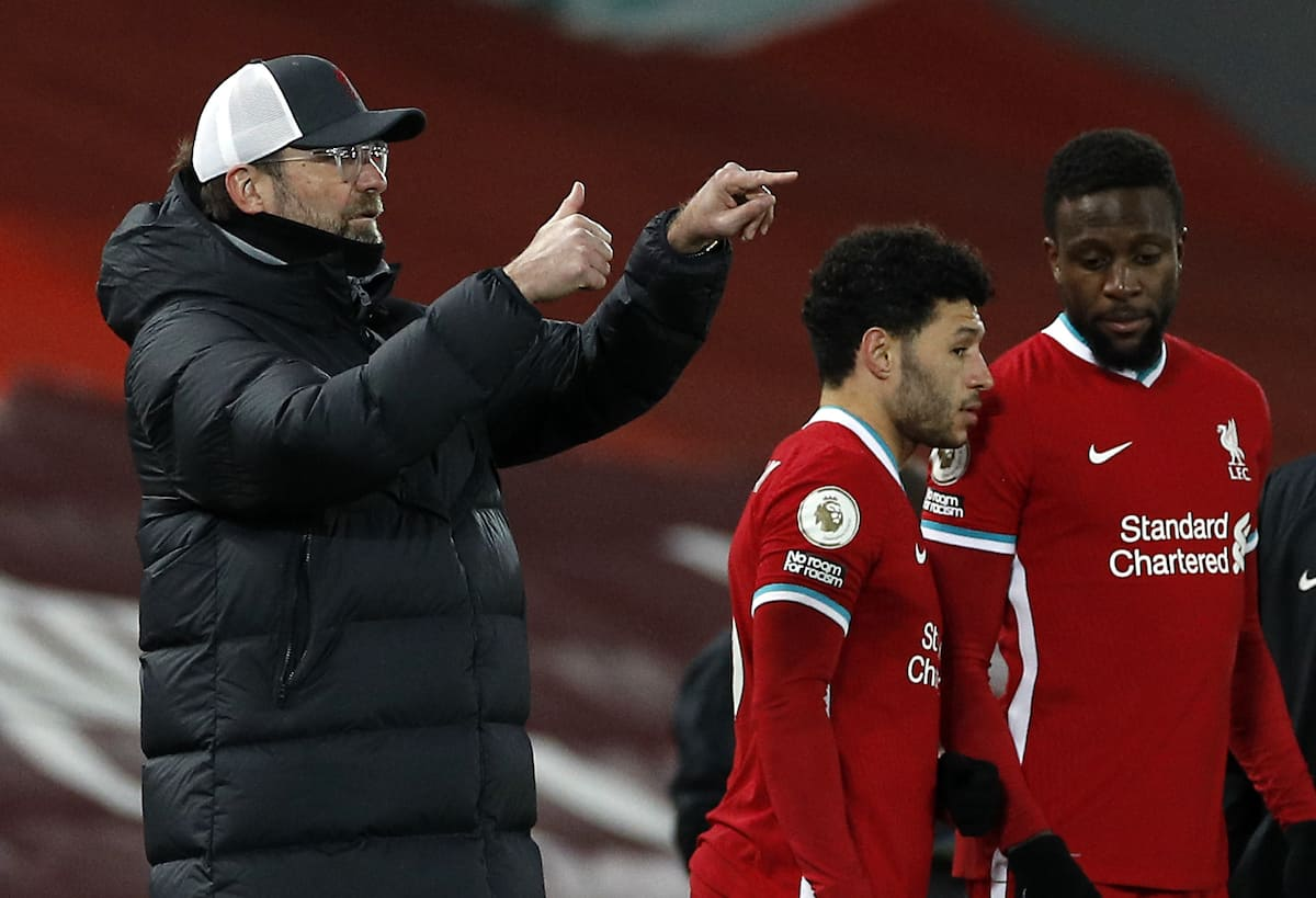 Klopp, Origi, Oxlade, subs (Phil Noble/PA Wire/PA Images)