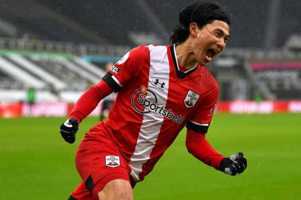 Southampton's Takumi Minamino celebrates scoring their side's first goal of the game during the Premier League match at St James' Park, Newcastle upon Tyne. Picture date: Saturday February 6, 2021.