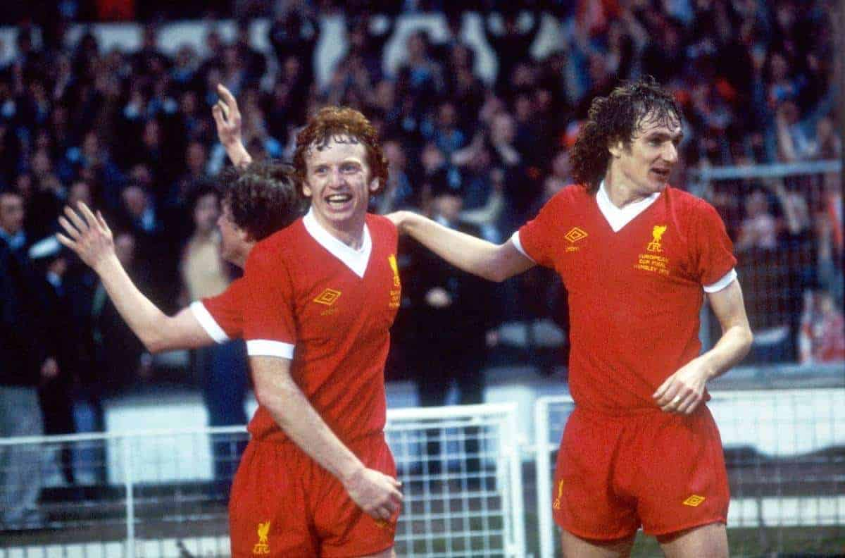 (L-R) Liverpool's David Fairclough and Phil Thompson celebrate the winning goal (Picture by S&G S&G and Barratts/EMPICS Sport)