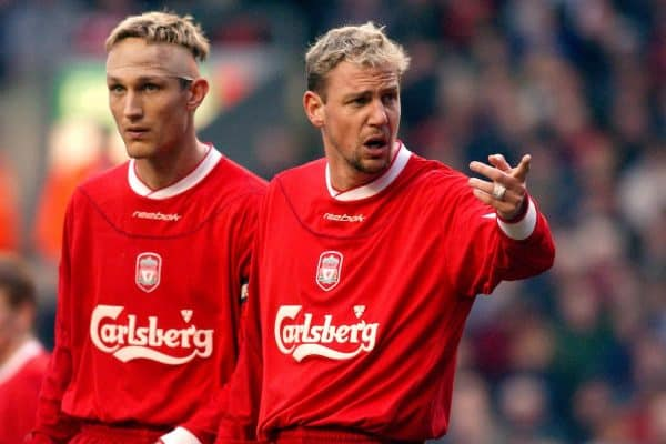 Liverpool's Sami Hyypia (l) and Stephane Henchoz (r)