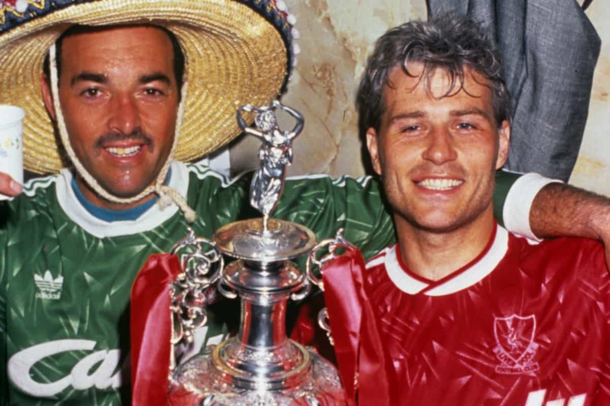 Bruce Grobbelaar (l) with Glenn Hysen (r), 1990 (All Action/EMPICS Entertainment)