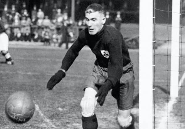 Liverpool goalkeeper Elisha Scott, playing for Northern Ireland, 1933