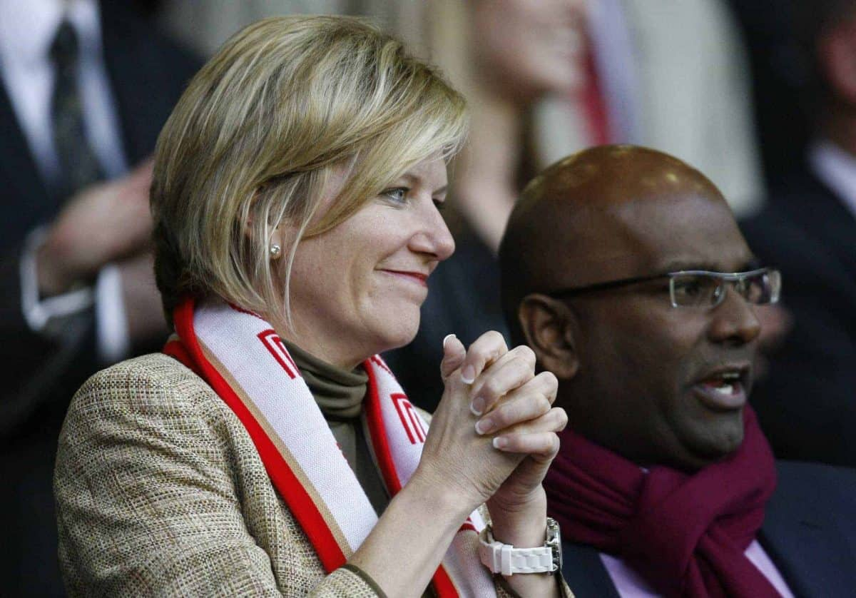 PCP Capital Partners senior partner Amanda Staveley is seen before Liverpool's English Premier League soccer match against Arsenal at Anfield Stadium, Liverpool, England, Tuesday April 21, 2009. (AP Photo/Paul Thomas)