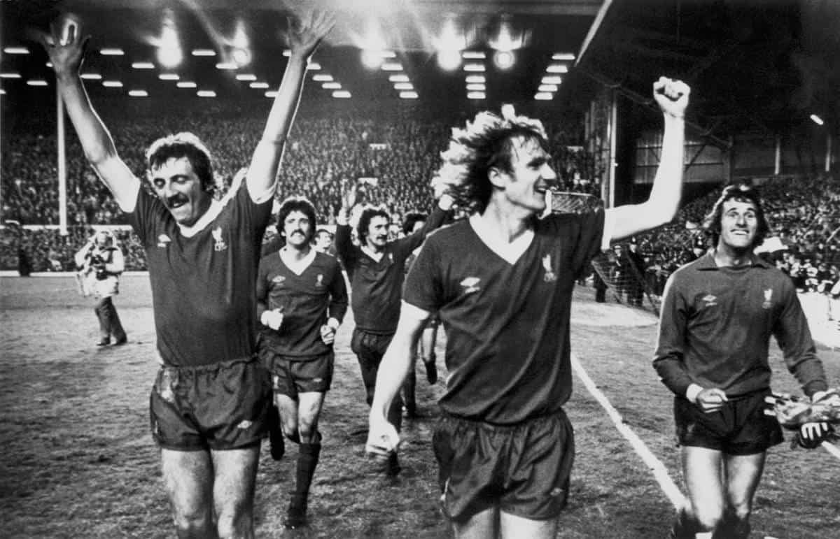 1979, Liverpool players perform a lap of honour after winning 3-0 to clinch the League Championship for the third time in four years: (l-r) Alan Kennedy, David Johnson, Terry McDermott, Phil Thompson, Ray Clemence (PA Photos/PA Archive/PA Images)