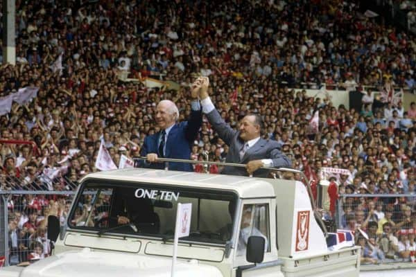 1983 charity shield, Busby and Paisley (Image:  Peter Robinson/EMPICS Sport)