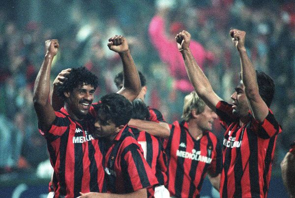 (L-R) AC Milan's Frank Rijkaard celebrates his goal with teammates Alessandro Costacurta and Carlo Ancelotti ( Studio Buzzi/Buzzi/PA Images)