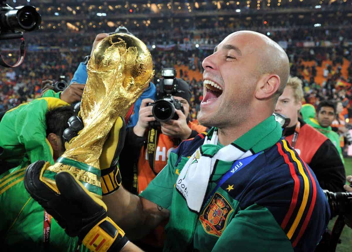 Pepe Reina of Spain celebrates with the World Cup trophy, 2010 ( Bernd Weissbrod/DPA/PA Images)