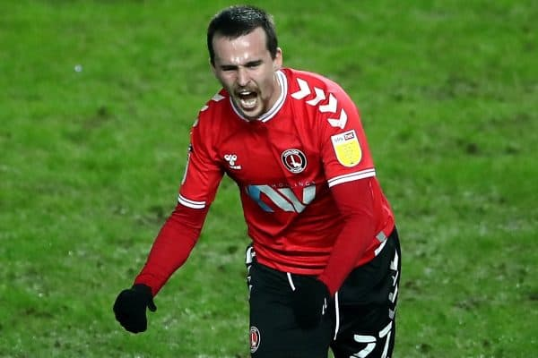 Charlton Athletic's Liam Millar celebrates scoring their side's first goal of the game during the Sky Bet League One match at Stadium MK, Milton Keynes. Picture date: Tuesday January 26, 2021.
