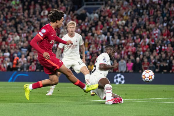 LIVERPOOL, ENGLAND - Wednesday September 15, 2021: Liverpool's Trent Alexander-Arnold scores the 1st (Image by Paul Currie / Propaganda)
