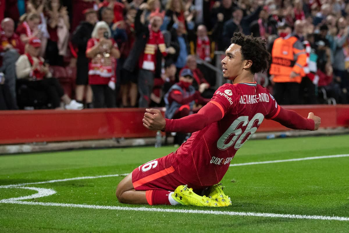 LIVERPOOL, ENGLAND - Wednesday, September 15, 2021: Liverpool's Trent Alexander-Arnold celebrates scoring the 1st goal during the UEFA Champions League Group B Matchday 1 game between Liverpool FC and AC Milan at Anfield. (Pic by Paul Currie/Propaganda)
