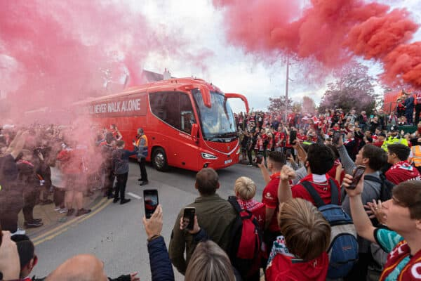 LIVERPOOL, ENGLAND - Wednesday, September 15, 2021: The Liverpool team bus arrives before the UEFA Champions League Group B Matchday 1 game between Liverpool FC and AC Milan at Anfield. (Pic by Paul Currie/Propaganda)