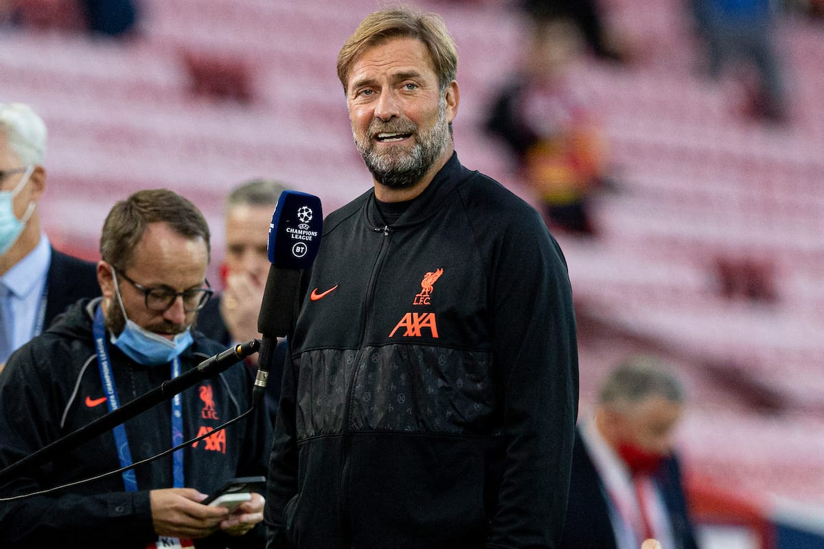 LIVERPOOL, ENGLAND - Wednesday, September 15, 2021: Liverpool's manager Jurgen Klopp talks to the media before the UEFA Champions League Group B Matchday 1 game between Liverpool FC and AC Milan at Anfield. (Pic by Paul Currie/Propaganda)