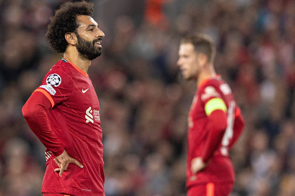 LIVERPOOL, ENGLAND - Wednesday, September 15, 2021: Liverpool's Mohamed Salah looks dejected during the UEFA Champions League Group B Matchday 1 game between Liverpool FC and AC Milan at Anfield. (Pic by Paul Currie/Propaganda)