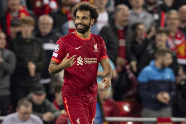 LIVERPOOL, ENGLAND - Wednesday, September 15, 2021: Liverpool's Mohamed Salah celebrates scoring to make it 2-2 during the UEFA Champions League Group B Matchday 1 game between Liverpool FC and AC Milan at Anfield. (Pic by Paul Currie/Propaganda)
