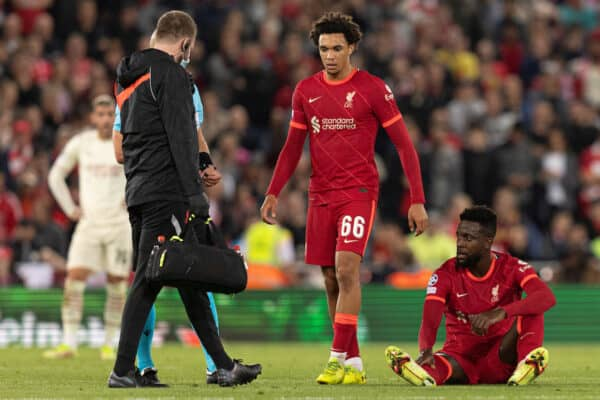 LIVERPOOL, ENGLAND - Wednesday, September 15, 2021: Liverpool's Divock Origi on the floor with an injury during the UEFA Champions League Group B Matchday 1 game between Liverpool FC and AC Milan at Anfield. (Pic by Paul Currie/Propaganda)