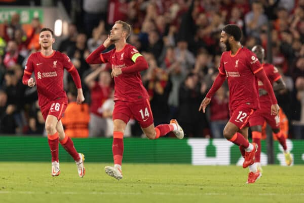 LIVERPOOL, ENGLAND - Wednesday, September 15, 2021: Liverpool's Jordan Henderson celebrates scoring the 3rd goal during the UEFA Champions League Group B Matchday 1 game between Liverpool FC and AC Milan at Anfield. (Pic by Paul Currie/Propaganda)