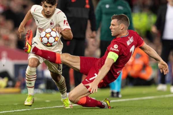 LIVERPOOL, ENGLAND - Wednesday, September 15, 2021: Liverpool's James Milner fouls AC Milan's Brahim Diaz during the UEFA Champions League Group B Matchday 1 game between Liverpool FC and AC Milan at Anfield. (Pic by Paul Currie/Propaganda)