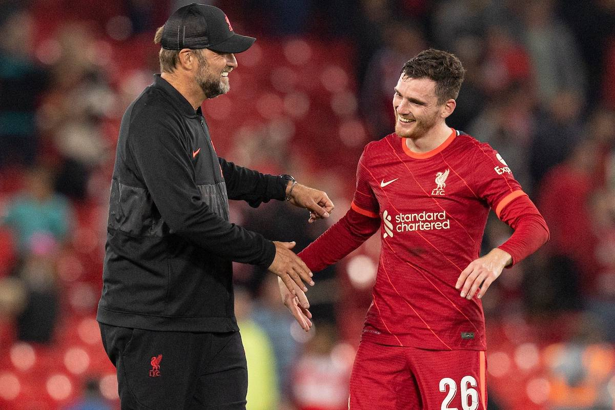 LIVERPOOL, ENGLAND - Wednesday, September 15, 2021: Liverpool's manager Jurgen Klopp and Andrew Robertson after the UEFA Champions League Group B Matchday 1 game between Liverpool FC and AC Milan at Anfield. (Pic by Paul Currie/Propaganda)