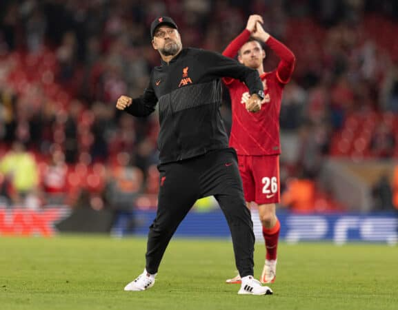 LIVERPOOL, ENGLAND - Wednesday, September 15, 2021:Liverpool's manager Jurgen Klopp celebrates at full time after the UEFA Champions League Group B Matchday 1 game between Liverpool FC and AC Milan at Anfield. (Pic by Paul Currie/Propaganda)