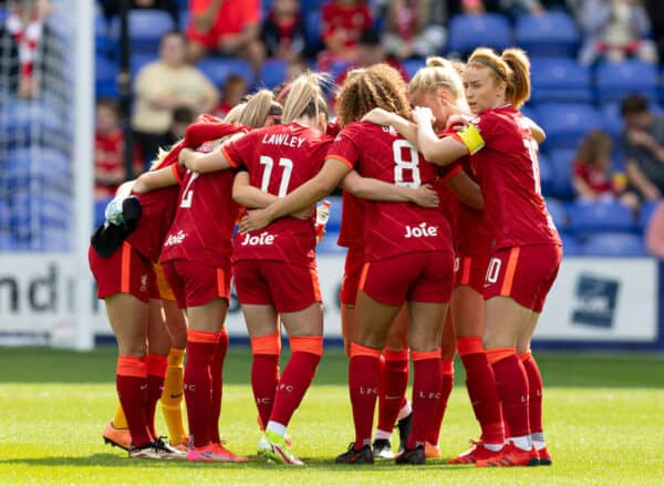 BIRKENHEAD, ENGLAND - Sunday, August 29, 2021: Liverpool's Rachel Furness in the team huddle before the FA Women's Championship game between Liverpool FC Women and London City Lionesses FC at Prenton Park. (Pic by Paul Currie/Propaganda)