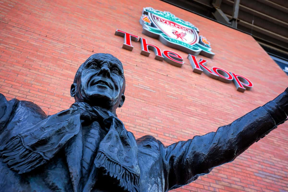 Bill Shankly statue, Anfield, The Kop (Image: Alamy Stock Photo)