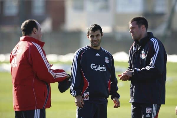 Liverpool, England - Friday, March 2, 2007: Liverpool's Javier Mascherano with manager Rafael Benitez and Jamie Carragher during training at Melwood ahead of the Premiership match against Manchester United at Anfield. (Pic by David Rawcliffe/Propaganda)