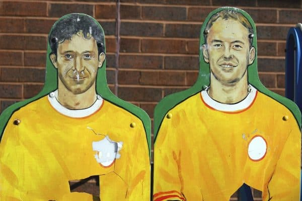 Liverpool, England - Friday, March 2, 2007: Two training aids at Liverpool's Melwood Training Ground, with the faces of goal scoring legend Robbie Fowler and also former player Michael Owen, looking a lot taller than usual, painted on them. (Pic by David Rawcliffe/Propaganda)
