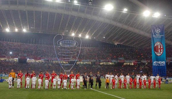 Liverpool's players and AC Milan's players lined up before the UEFA Champions League Final at the OACA Spyro Louis Olympic Stadium. (Pic by Jason Roberts/Propaganda)