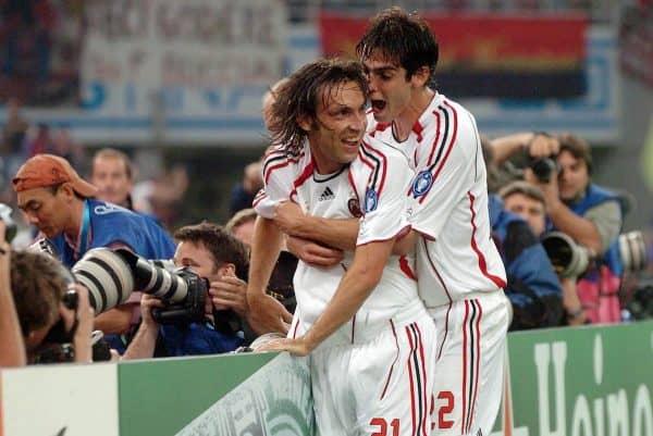 아테네, 그리스 - 2007 년 5 월 23 일 수요일 : AC 밀란의 Andrea Pirlo와 Kaka는 OACA Spyro Louis Olympic Stadium의 UEFA 챔피언스 리그 결승전에서 리버풀과의 Filippo Inzaghi의 프리킥이 끝난 후 카카가 골을 넣었다.  (그림 : Jason Roberts / Propaganda)
