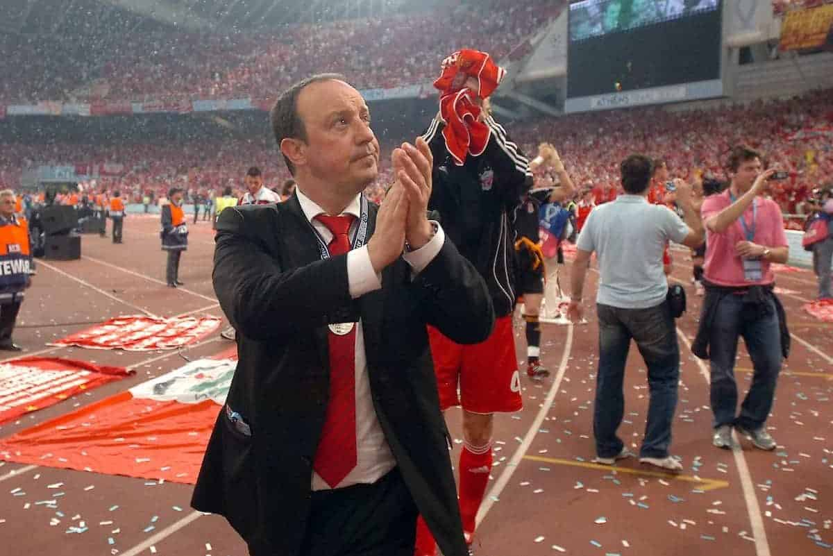 Athens, Greece - Wednesday, May 23, 2007: Liverpool's manager Rafael Benitez looks dejected after losing 2-1 to AC Milan during the UEFA Champions League Final at the OACA Spyro Louis Olympic Stadium. (Pic by Jason Roberts/Propaganda)