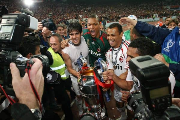 Athens, Greece - Wednesday, May 23, 2007: AC Milan's Mohamed Sissoko goalkeeper Dida and Cafu celebrate winning the European Cup after beating Liverpool 2-1, during the UEFA Champions League Final at the OACA Spyro Louis Olympic Stadium. (Pic by Chris Ratcliffe/ Propaganda)