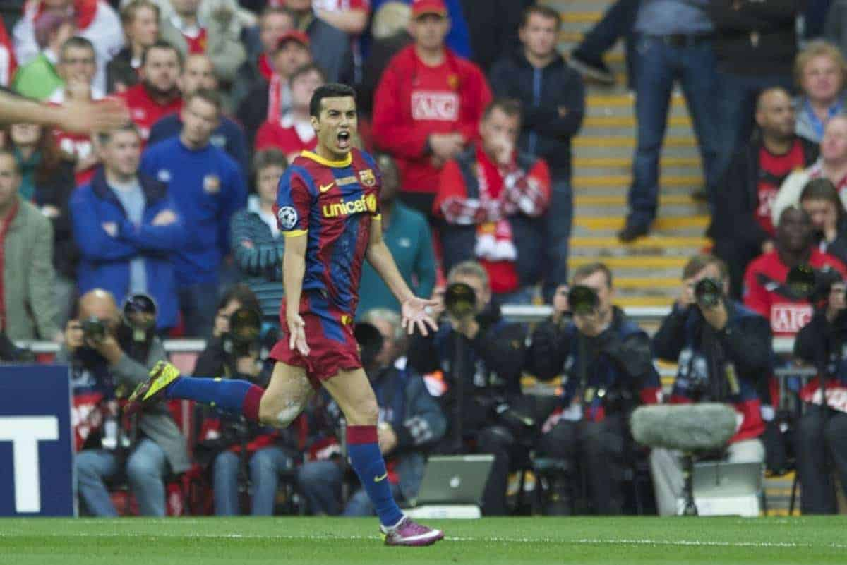 LONDON, ENGLAND, Saturday, May 28, 2011: FC Barcelona's Pedro Rodriguez celebrates scoring the first goal against Manchester United during the UEFA Champions League Final at Wembley Stadium. (Photo by Chris Brunskill/Propaganda)