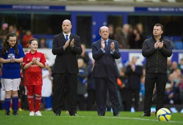 LIVERPOOL, ENGLAND - Saturday, January 7, 2012: Former Everton players, Joe Parkinson, Howard Kendall and Graham Stuart stand for a minute's applause in memory of former player Gary Ablett, who died of cancer earlier in the week, before the FA Cup 3rd Round match at Goodison Park. (Pic by David Rawcliffe/Propaganda)