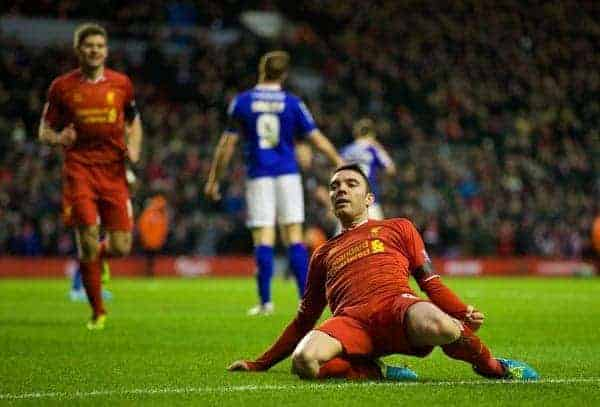 LIVERPOOL, ENGLAND - Sunday, January 5, 2014: Liverpool's Iago Aspas celebrates scoring the first goal against Oldham Athletic during the FA Cup 3rd Round match at Anfield. (Pic by David Rawcliffe/Propaganda)