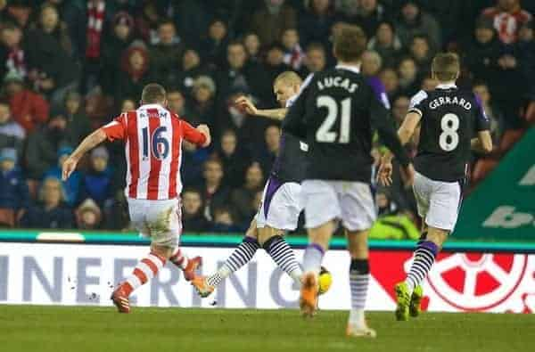 STOKE-ON-TRENT, ENGLAND - Sunday, January 12, 2014: Stoke City's Charlie Adam scores the second goal against Liverpool during the Premiership match at the Britannia Stadium. (Pic by David Rawcliffe/Propaganda)