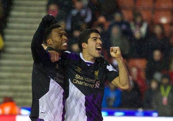 STOKE-ON-TRENT, ENGLAND - Sunday, January 12, 2014: Liverpool's Luis Suarez celebrates scoring the fourth goal against from the penalty spot during the Premiership match at the Britannia Stadium. (Pic by David Rawcliffe/Propaganda)