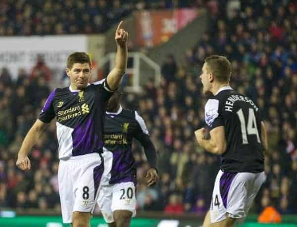 STOKE-ON-TRENT, ENGLAND - Sunday, January 12, 2014: Liverpool's captain Steven Gerrard celebrates scoring the third goal against from the penalty spot during the Premiership match at the Britannia Stadium. (Pic by David Rawcliffe/Propaganda)
