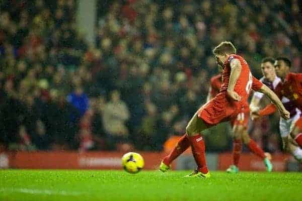 LIVERPOOL, ENGLAND - Saturday, January 18, 2014: Liverpool's captain Steven Gerrard scores the second goal against Aston Villa from the penalty spot during the Premiership match at Anfield. (Pic by David Rawcliffe/Propaganda)