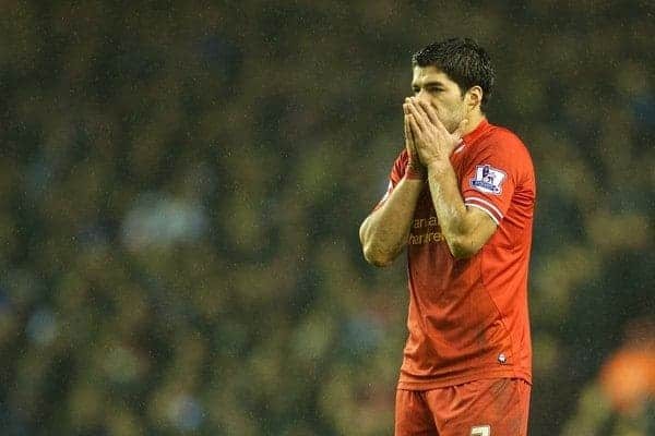 LIVERPOOL, ENGLAND - Saturday, January 18, 2014: Liverpool's Luis Suarez looks dejected against Aston Villa during the Premiership match at Anfield. (Pic by David Rawcliffe/Propaganda)