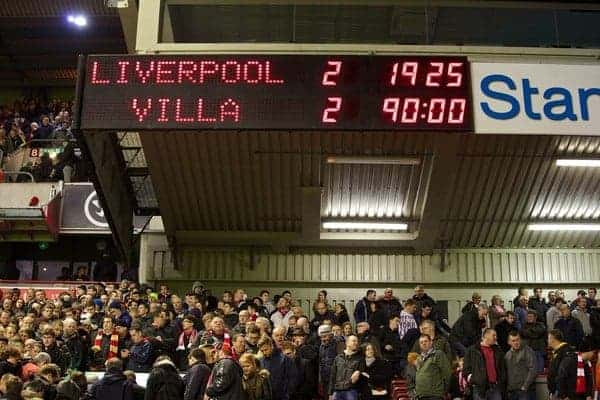 LIVERPOOL, ENGLAND - Saturday, January 18, 2014: Liverpool's scoreboard records the disappointing 2-2 draw with Aston Villa during the Premiership match at Anfield. (Pic by David Rawcliffe/Propaganda)