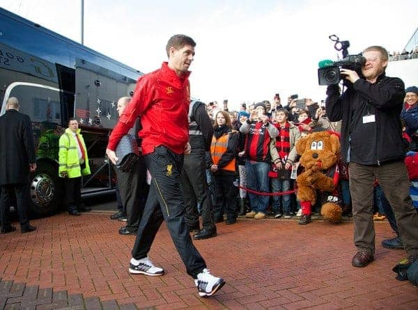 BOURNEMOUTH, ENGLAND - Saturday, January 25, 2014: Liverpool's captain Steven Gerrard arrives at Dean Court ahead of the FA Cup 4th Round match against Bournemouth. (Pic by David Rawcliffe/Propaganda)