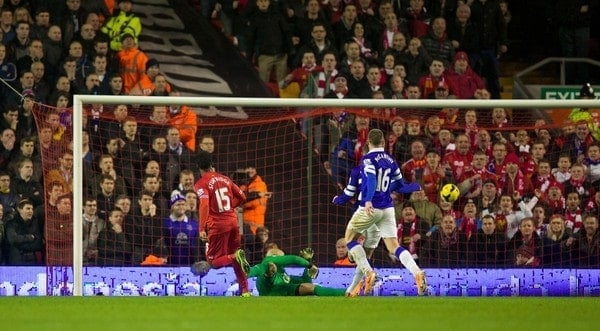 LIVERPOOL, ENGLAND - Tuesday, January 28, 2014: Liverpool's Daniel Sturridge scores the second goal against Everton during the 222nd Merseyside Derby Premiership match at Anfield. (Pic by David Rawcliffe/Propaganda)