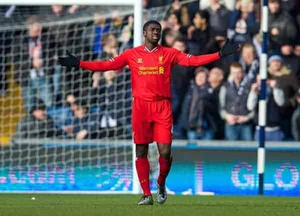WEST BROMWICH, ENGLAND - Sunday, February 2, 2014: Liverpool's Kolo Toure looks dejected as West Bromwich Albion score the equalising goal during the Premiership match at the Hawthorns. (Pic by David Rawcliffe/Propaganda)