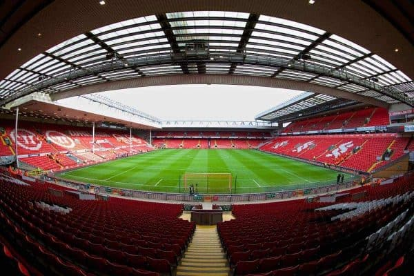 LIVERPOOL, ENGLAND - Saturday, February 8, 2014: The view from the Spion Kop at Liverpool's Anfield home before the Premiership match against Arsenal. (Pic by David Rawcliffe/Propaganda)