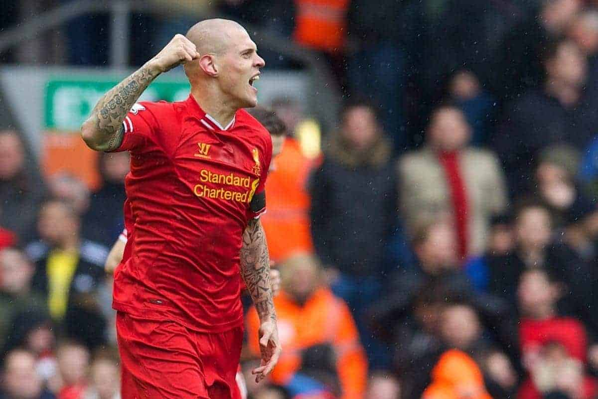 LIVERPOOL, ENGLAND - Saturday, February 8, 2014: Liverpool's Martin Skrtel celebrates scoring the first goal against Arsenal during the Premiership match at Anfield. (Pic by David Rawcliffe/Propaganda)