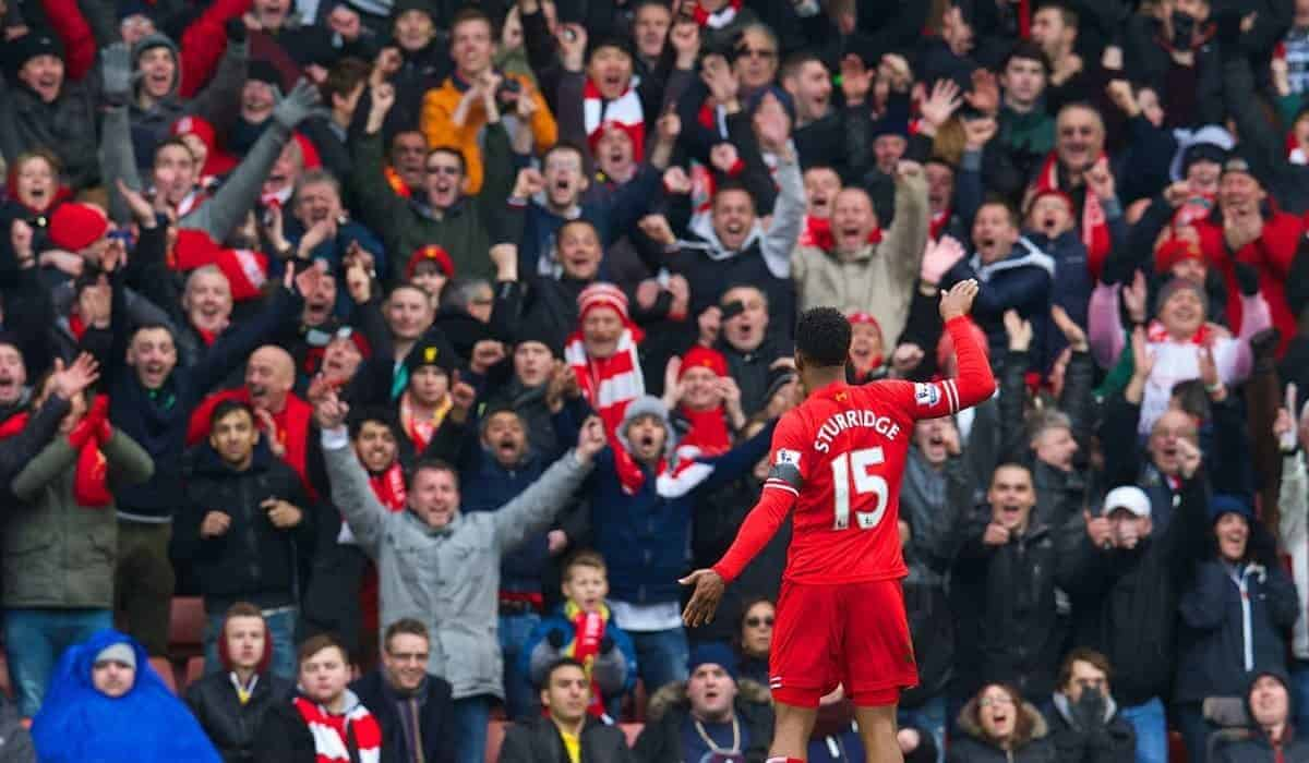 LIVERPOOL, ENGLAND - Saturday, February 8, 2014: Liverpool's Daniel Sturridge celebrates scoring the fourth goal against Arsenal during the Premiership match at Anfield. (Pic by David Rawcliffe/Propaganda)