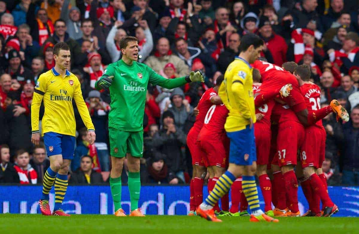 LIVERPOOL, ENGLAND - Saturday, February 8, 2014: Arsenal's goalkeeper Wojciech Szczesny looks dejected as Liverpool score the fourth goal against Arsenal during the Premiership match at Anfield. (Pic by David Rawcliffe/Propaganda)