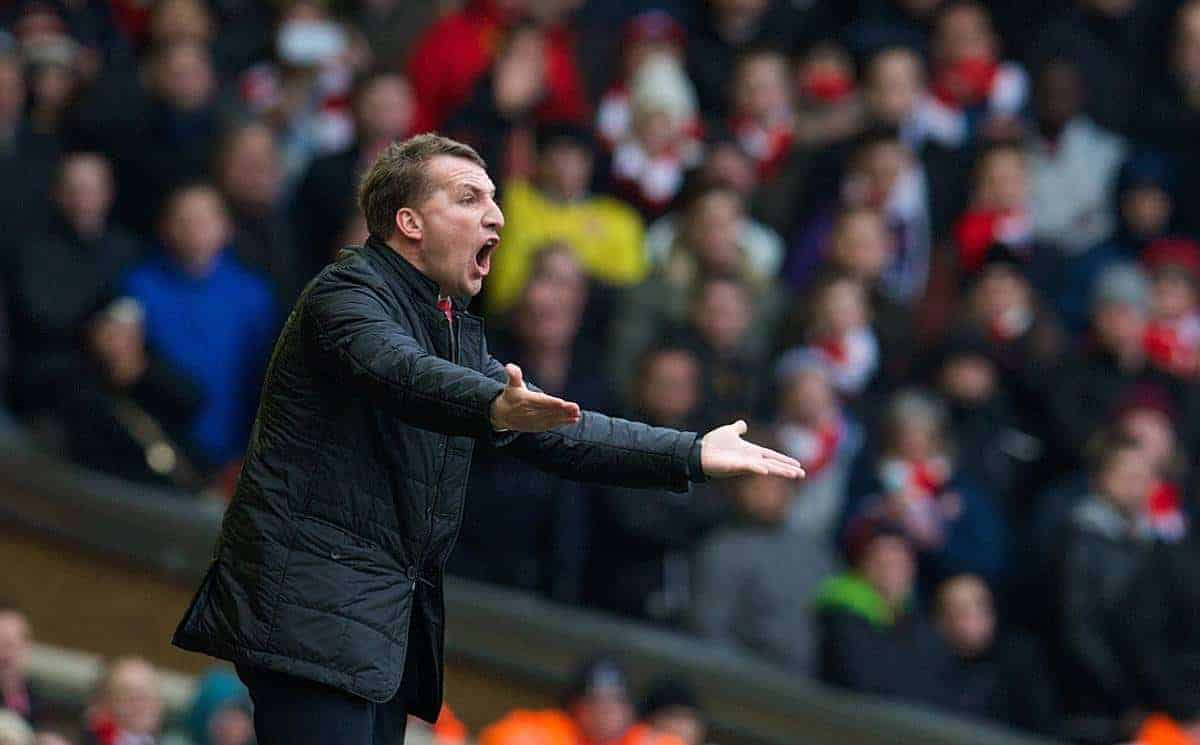 LIVERPOOL, ENGLAND - Saturday, February 8, 2014: Liverpool's manager Brendan Rodgers urges his side on even at 4-0 against Arsenal during the Premiership match at Anfield. (Pic by David Rawcliffe/Propaganda)