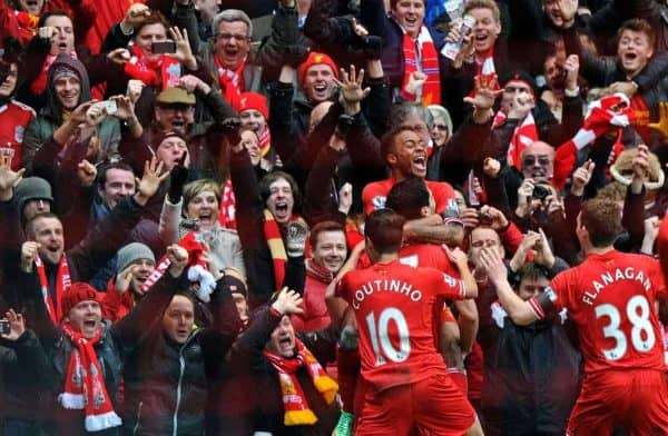 LIVERPOOL, ENGLAND - Saturday, February 8, 2014: Liverpool's Raheem Sterling celebrates scoring the third goal against Arsenal during the Premiership match at Anfield. (Pic by David Rawcliffe/Propaganda)