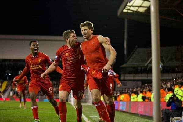 LONDON, ENGLAND - Wednesday, February 12, 2014: Liverpool's captain Steven Gerrard celebrates scoring the third goal against Fulham from the penalty spot during the Premiership match at Craven Cottage. (Pic by David Rawcliffe/Propaganda)